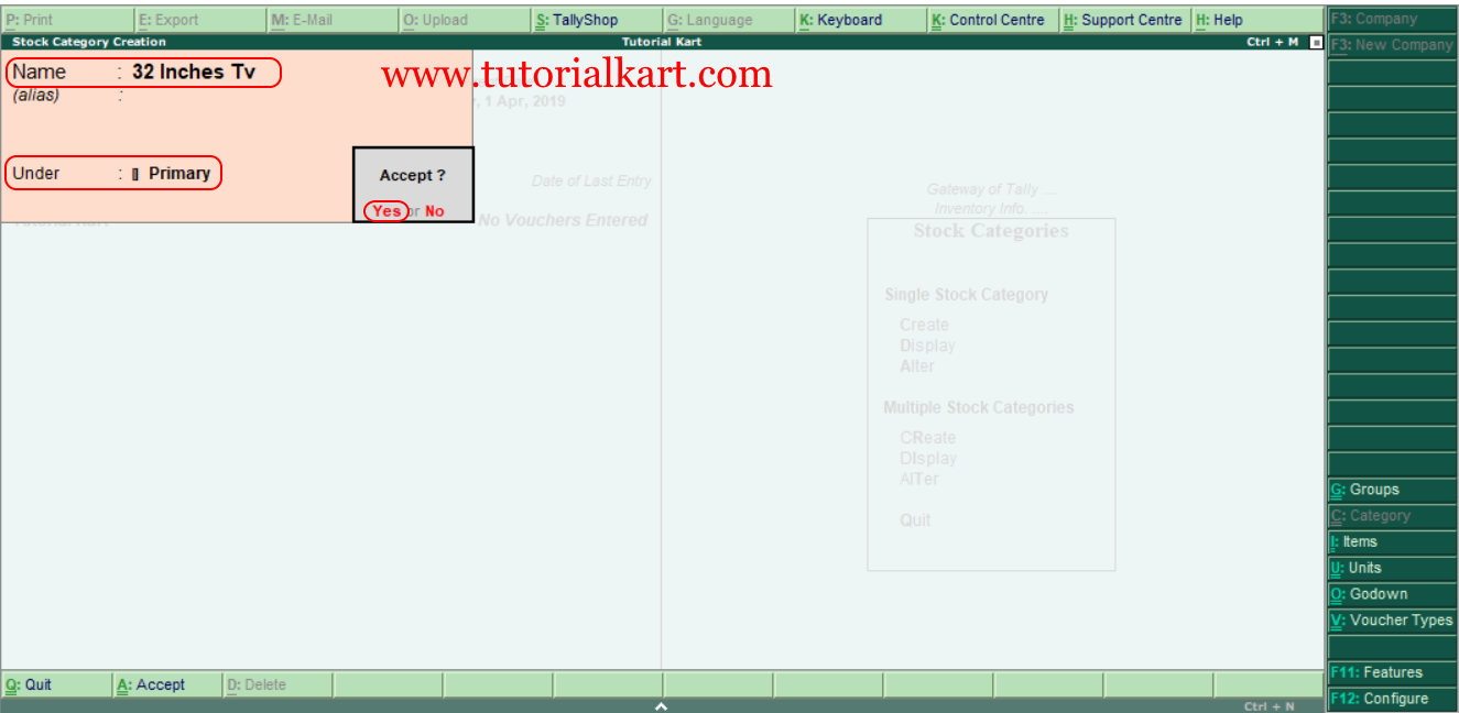 Create single stock category in Tally