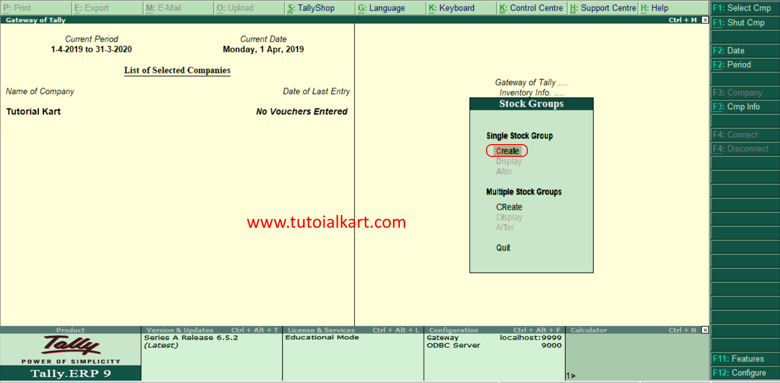 Create single stock group in tally