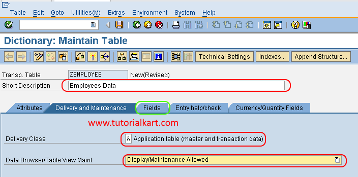 Dictionary Maintain table in SAP ABAP