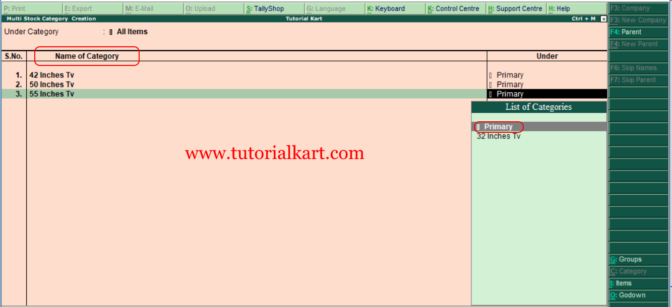How to create multi stock categories in tally