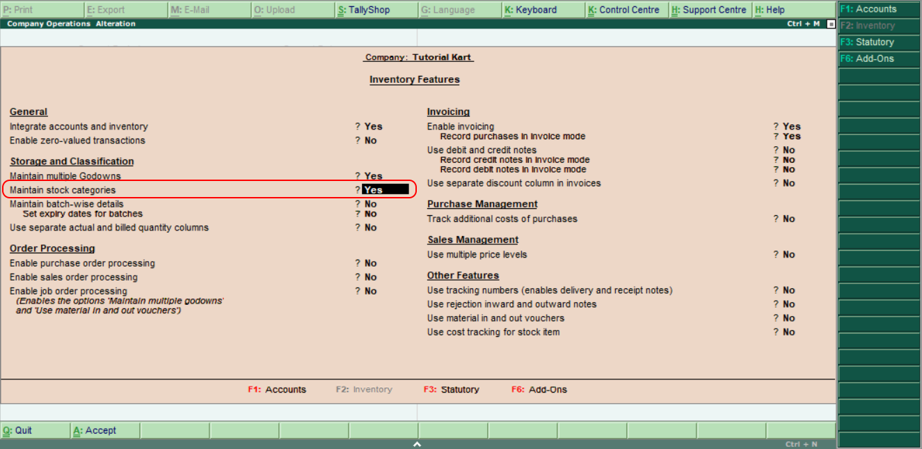 Maintain stock categories in tally
