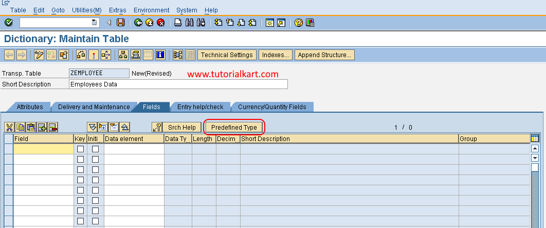 database table predefined type in sap abap