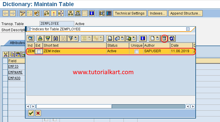 delete secondary indexes in SAP ABAP