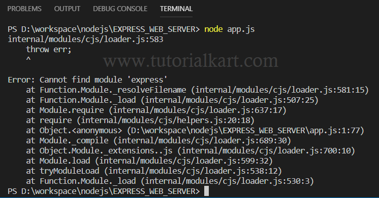 Node.js Cannot find module 'express'