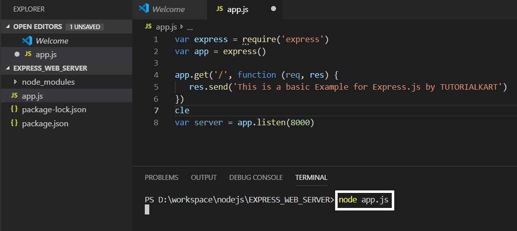 Run Express.js web server