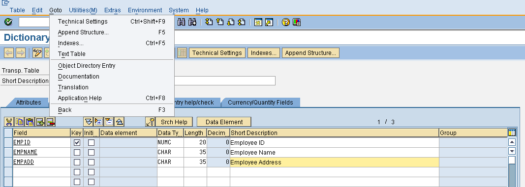 tables technical settings in SAP