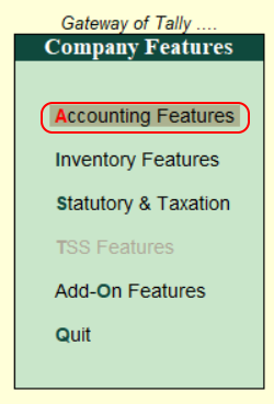 Accounting features for payroll in Tally