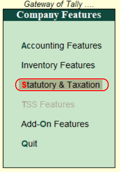 Choose statutory and taxation for payroll in Tally