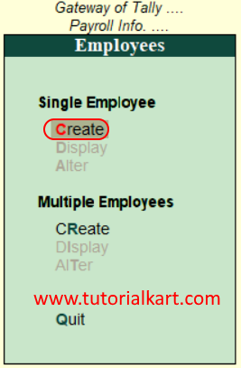 Create Single employee in Tally