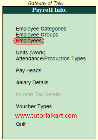 Create employees in Tally