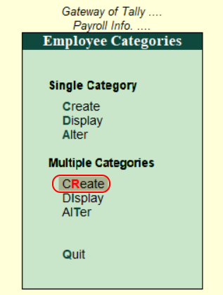 Create multiple categories in Tally