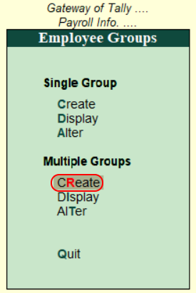 Create multiple groups in Tally