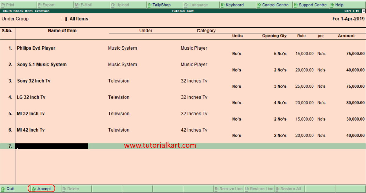 Create multiple stock items in Tally