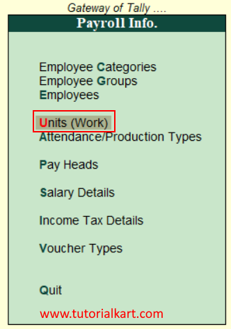 Create payroll units in Tally