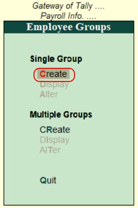 Create single employee group in Tally