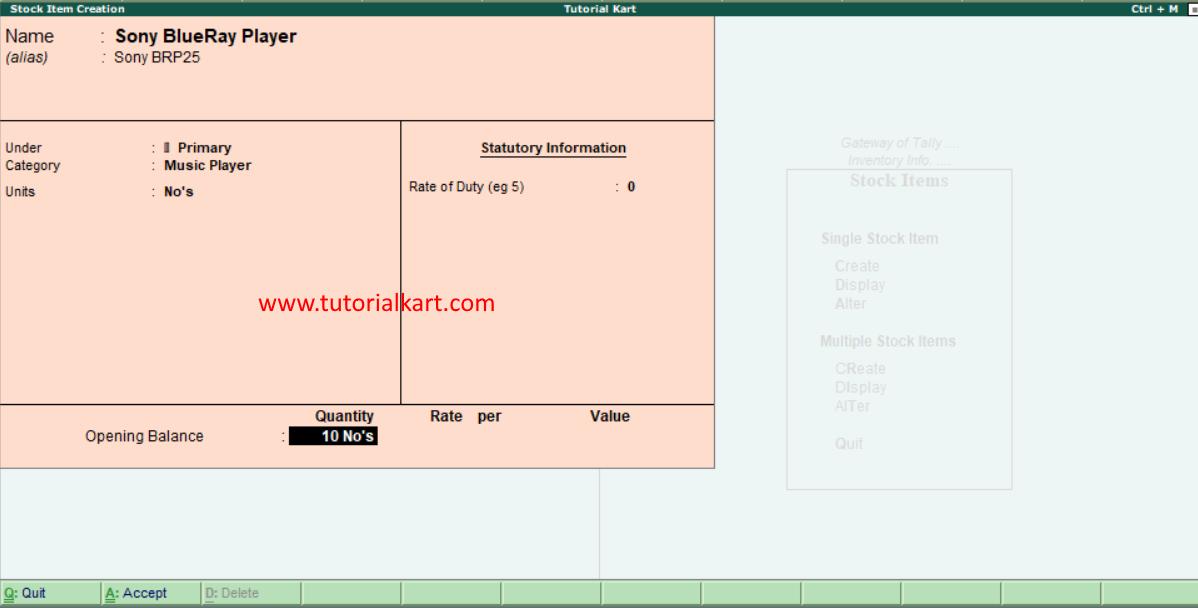 Create single stock item in tally