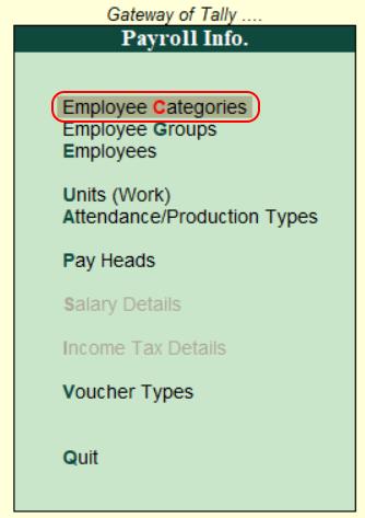 Employee categories in Tally