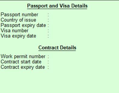 Employee passport details in Tally