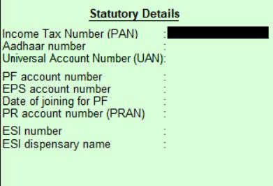 Employee statutory details in Tally
