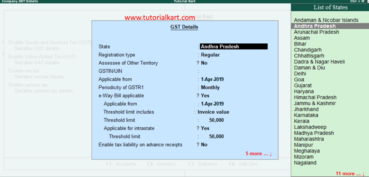 GST details in tally