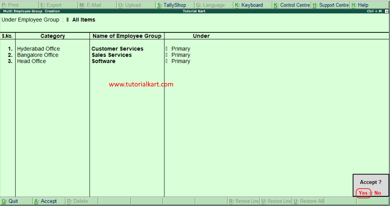 How to create multi employee groups in Tally
