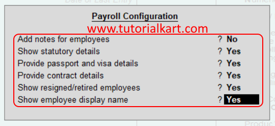 Payroll Configuration in Tally