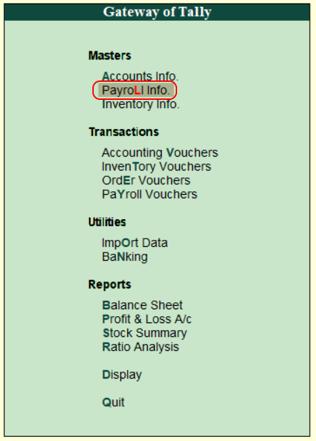 Payroll info in tally