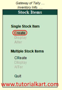 Single stock item create in tally