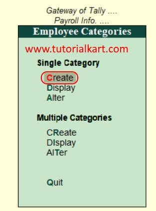 create Single employee category in Tally