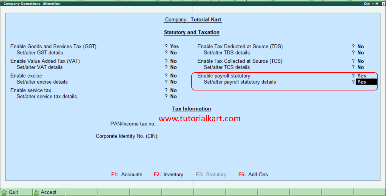 enable payroll statutory in Tally