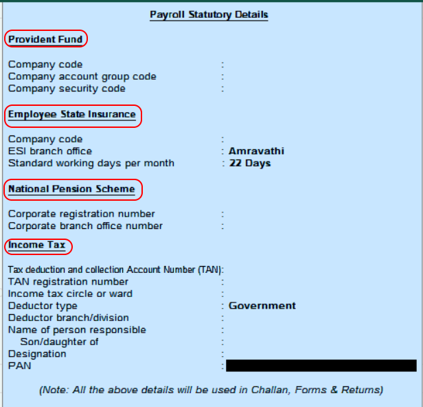 payroll statutory details in Tally