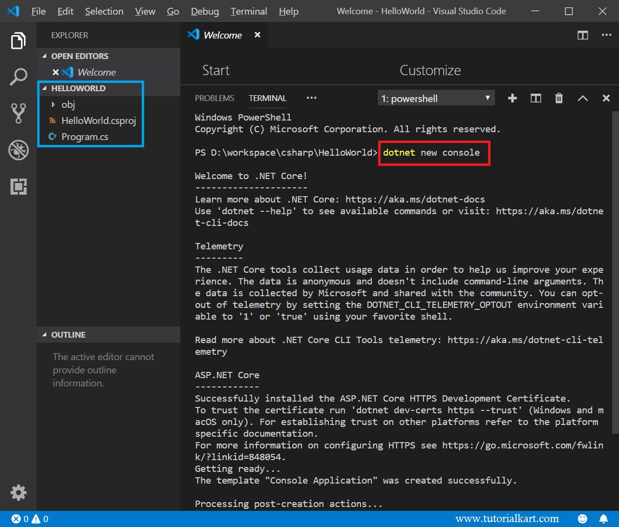 Visual Studio Code - Create C# Project - Terminal Command - dotnet new console