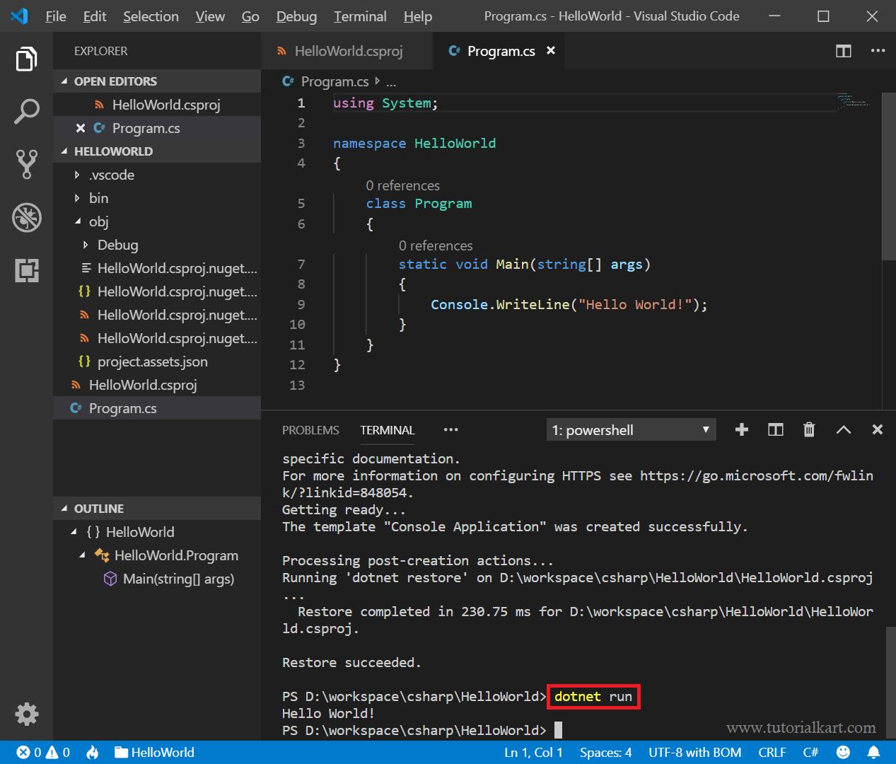 Visual Studio Code - Create C# Project - Terminal Command - dotnet run