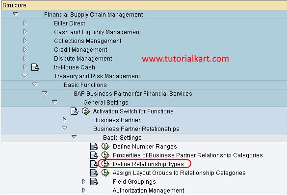 Define Relationship Types in SAP menu path