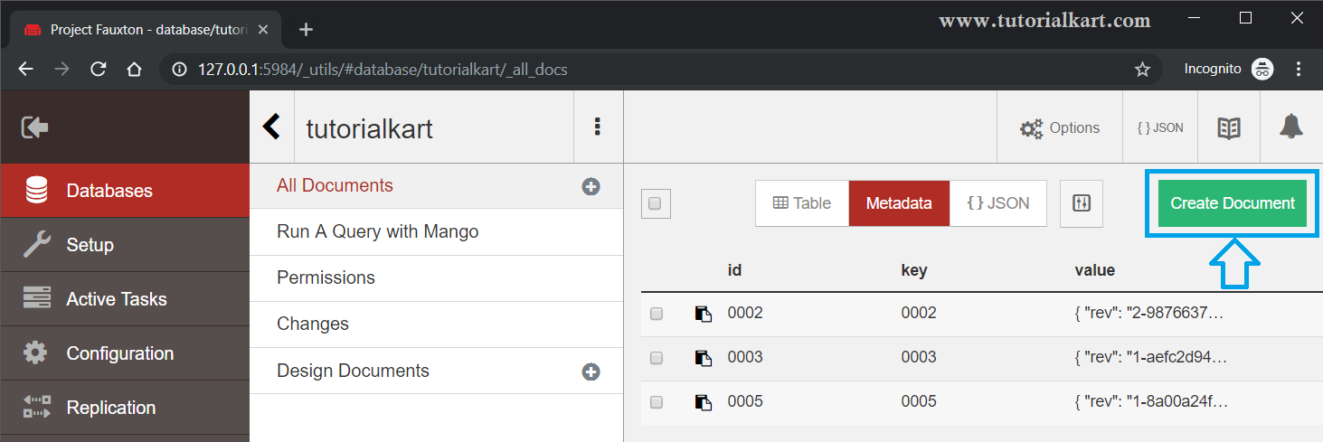 CouchDB - Create Document - Web Interface