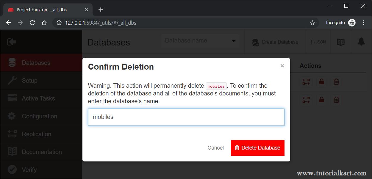 CouchDB - Delete Database - Confirm Deletion