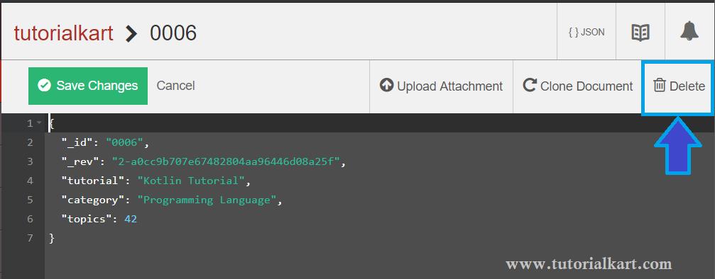 CouchDB - Delete Document - Click on Delete button