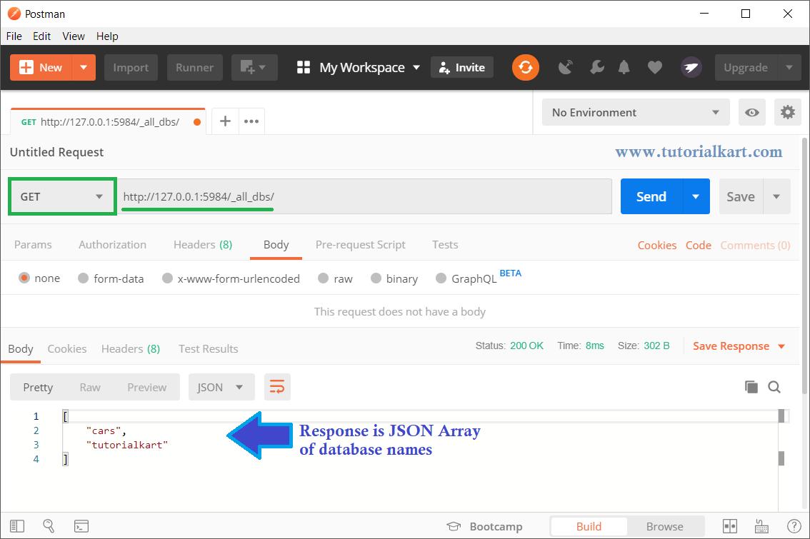 CouchDB - Get Database List - JSON Array