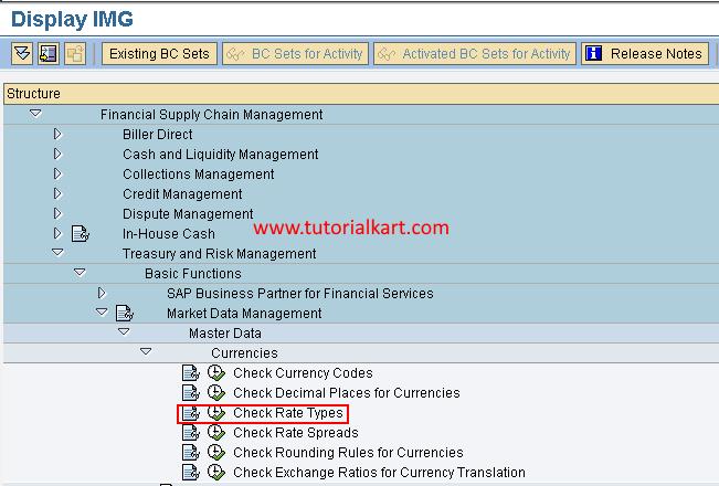 Check rate types in SAP menu path