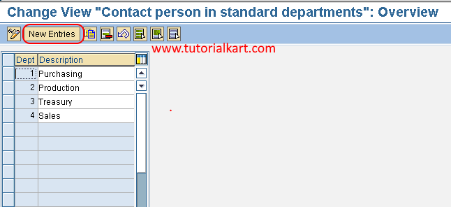 Contact person in standard departments in SAP