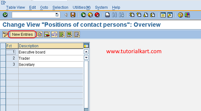 Create new function in SAP FSCM new entries