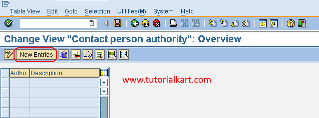 Define Authority in sap new entries