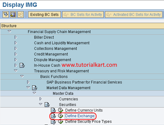 Define exchange in SAP FSCM