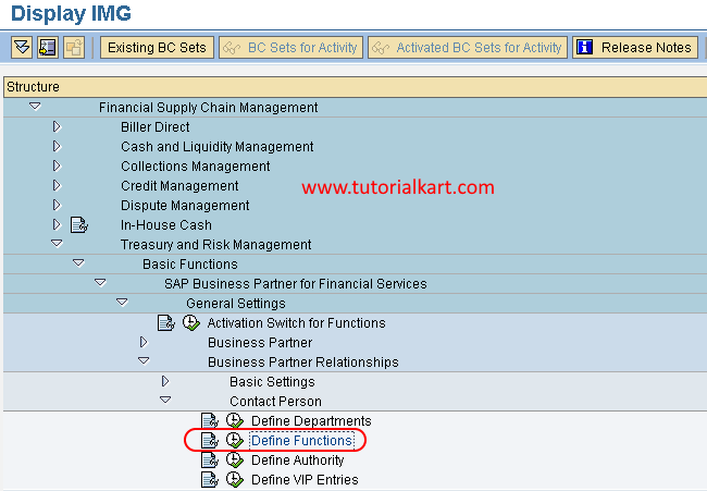 Define functions in SAP path