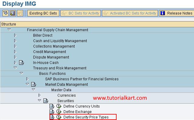 Security Price Types in SAP menu path