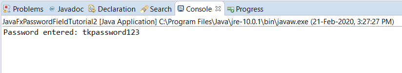 JavaFX PasswordField - Get the Value - Console output