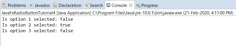 JavaFX - Check which radio button is Clicked - Console output
