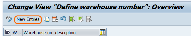 define warehouse number in SAP new entries