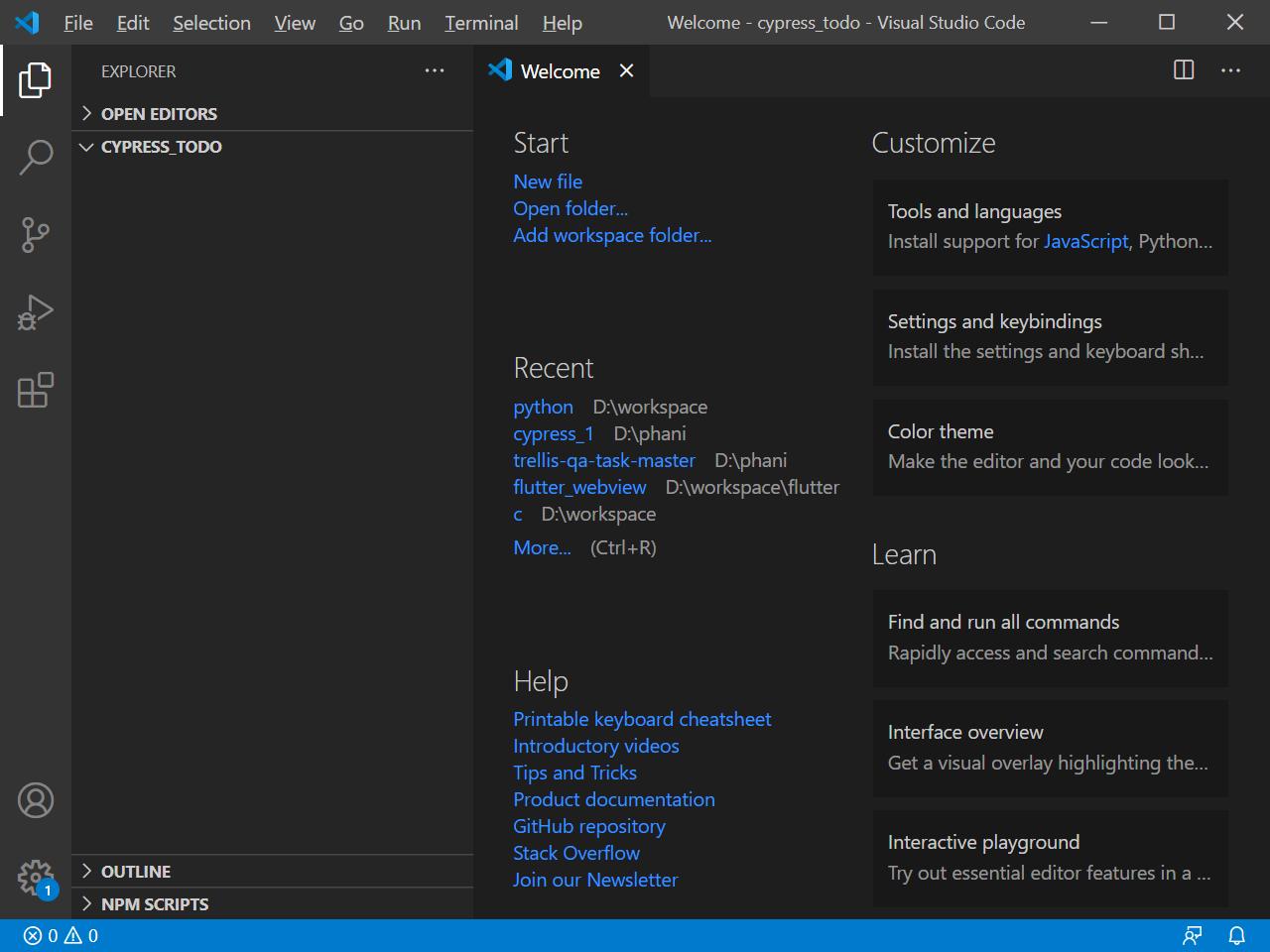 Cypress Tutorial - Open Visual Studio IDE