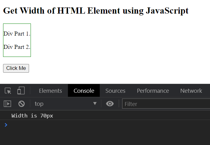 JavaScript - Get Width of an HTML Element in Pixels